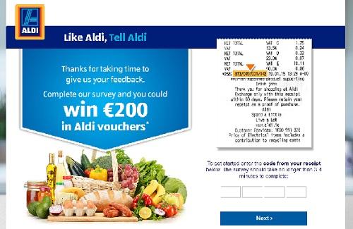 www.tellaldi.ie   Tell Aldi Customer Win €100 Voucher Survey Sweepstakes