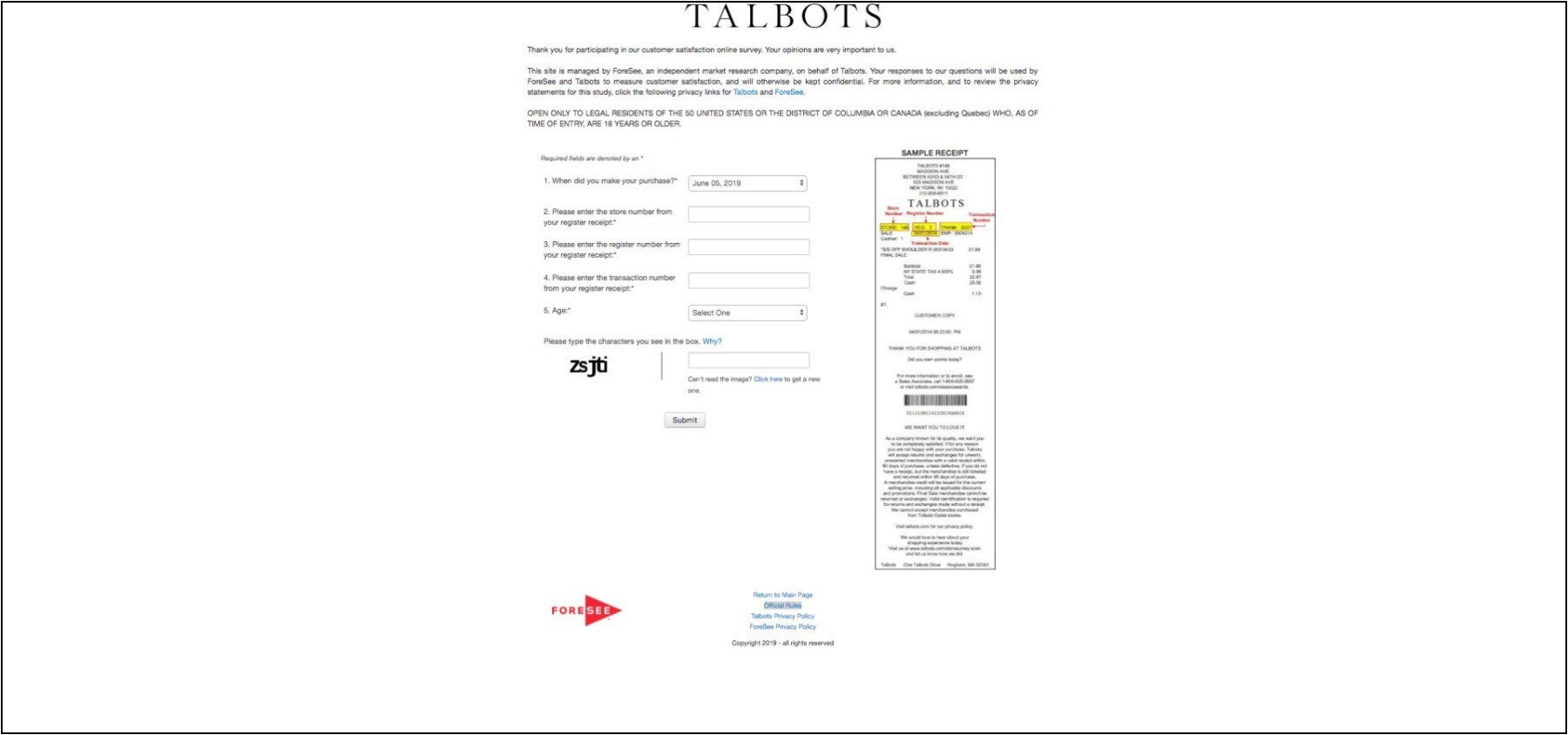 Survey.ForeSeeresults.com/Talbots