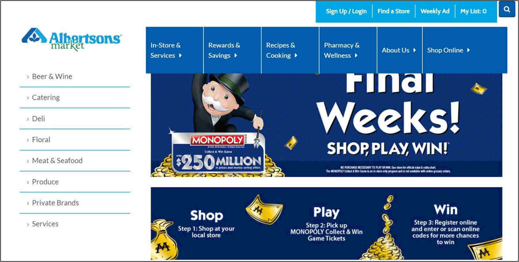 Albertsons Monopoly – Shop Play Win – Win $250M In Gifts