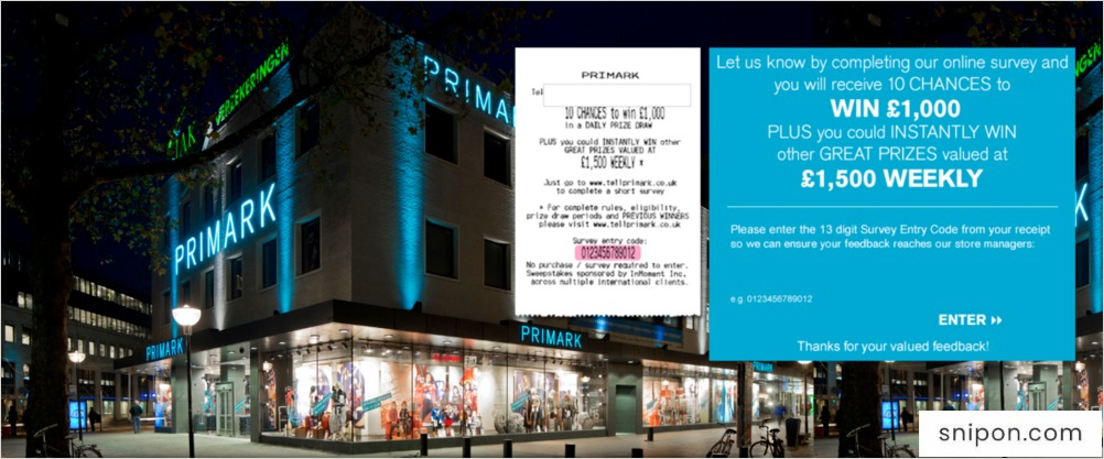 TellPrimark Survey - Enter 13-Digit Survey Code