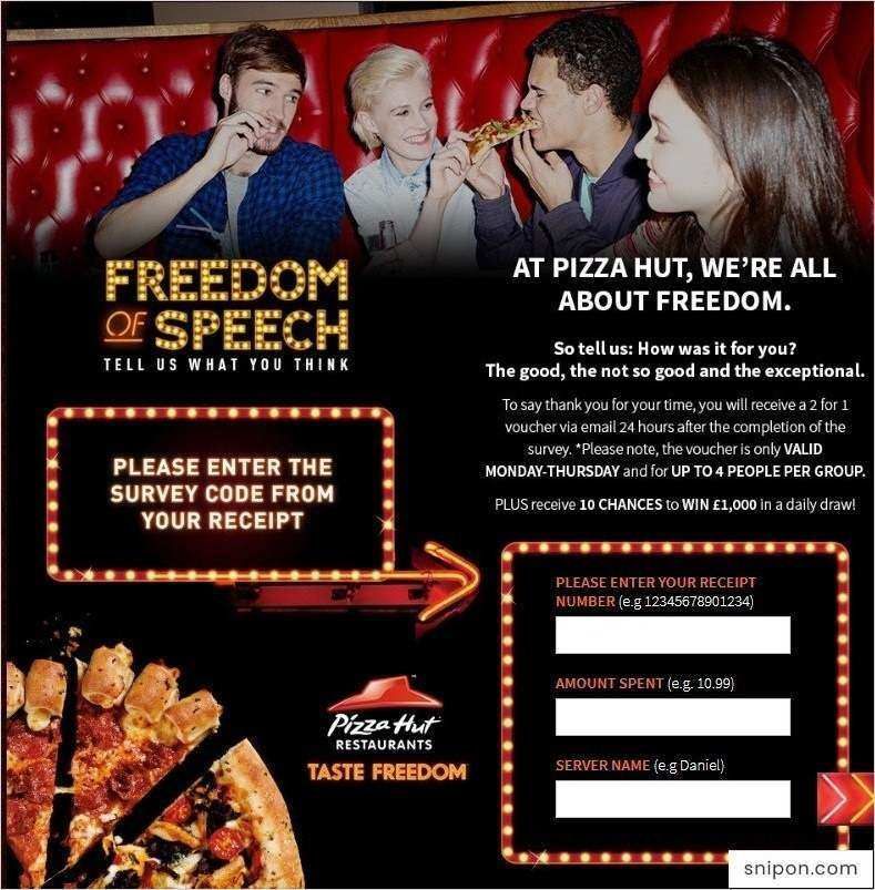 TellPizzaHut - Enter Information from Your Receipt