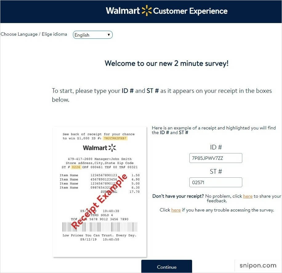 Enter ID & ST Numbers - www.survey.walmart.com