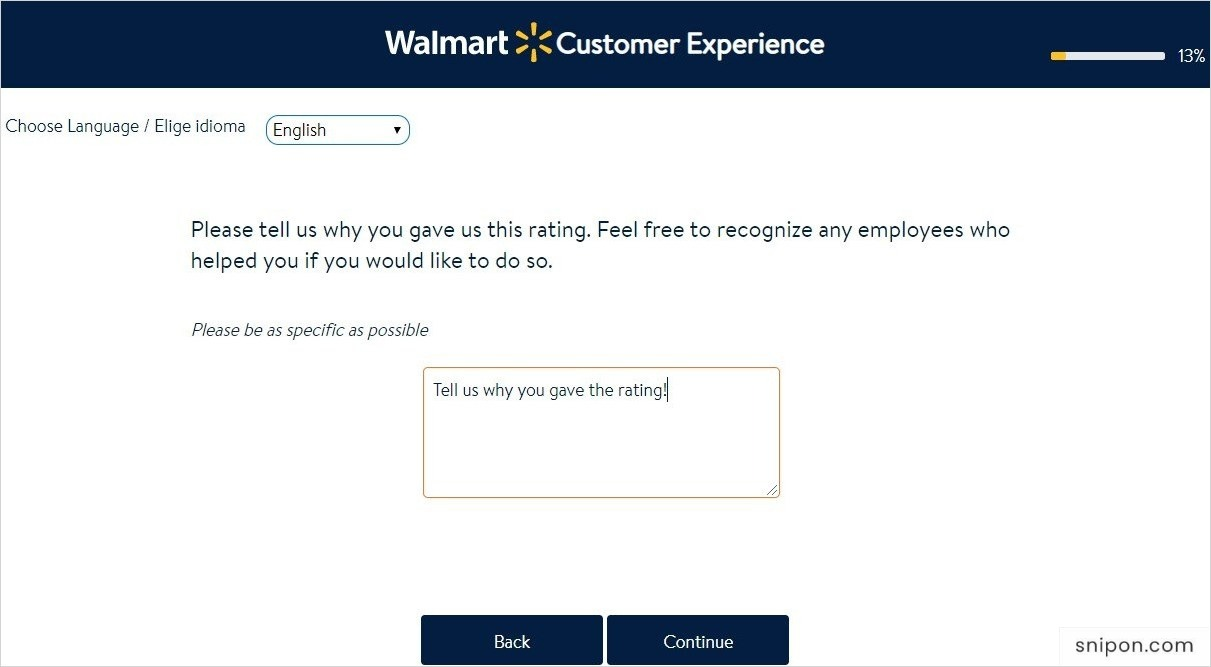 Explain Your Rating to Walmart - Walmart Survey