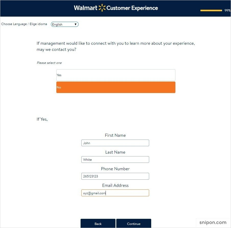 Enter Information for Sweepstakes - Walmart Survey