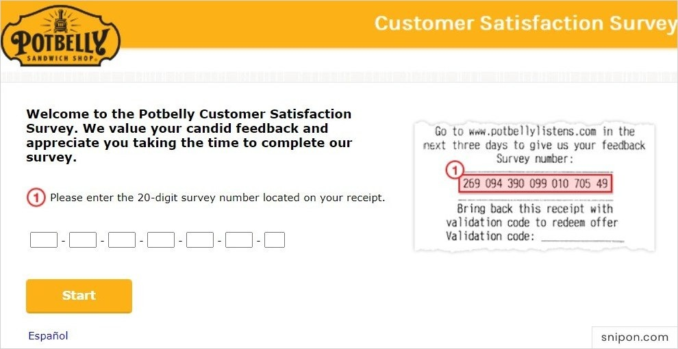 Enter 20-Digit Survey Code - Potbelly Listens