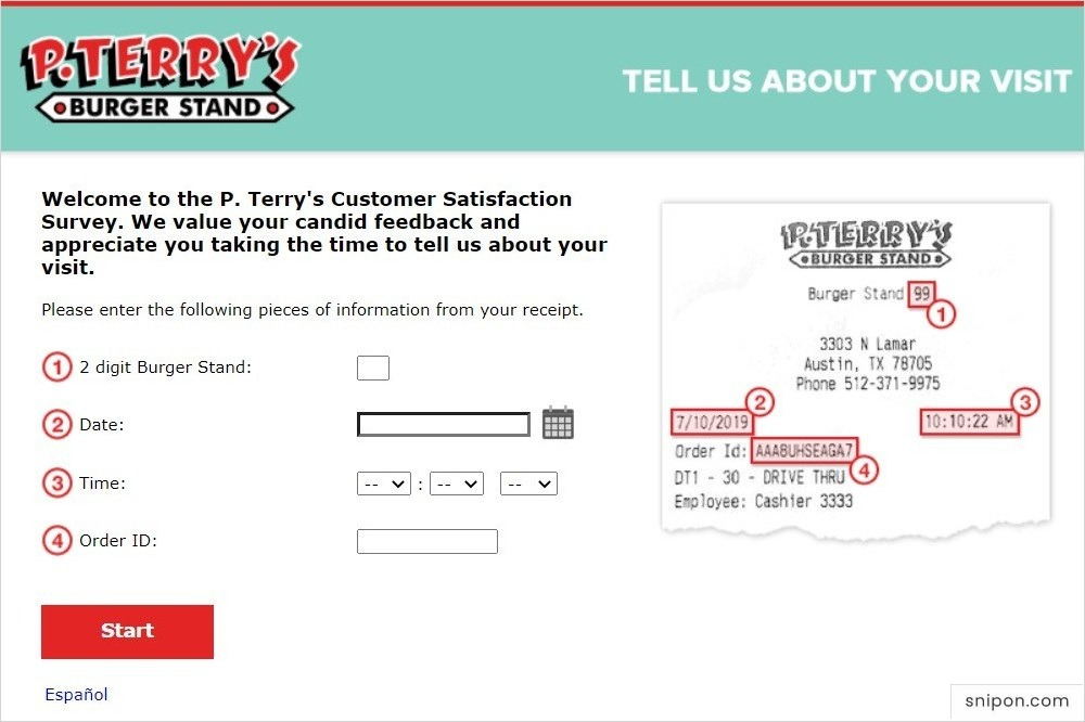 Enter Information from Receipt - J. Terry's Guest Survey