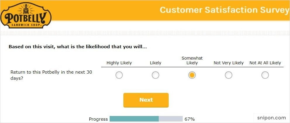 Select Your Likelihood of Returning to Potbelly - Potbelly Listens Survey