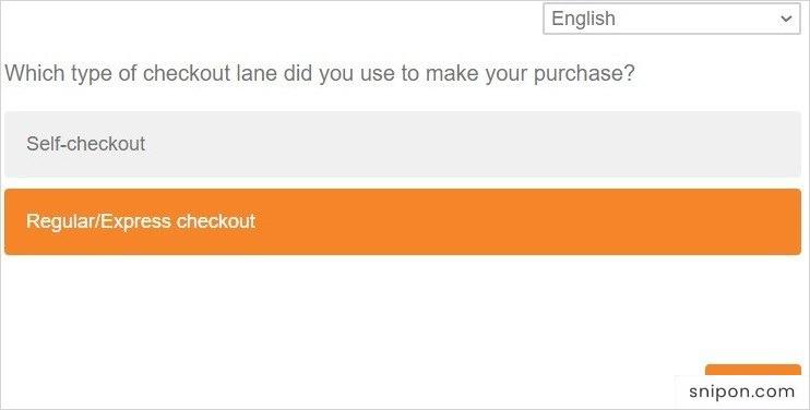 Select Checkout Lane Type & Answer More Questions - www.shaws.com/survey