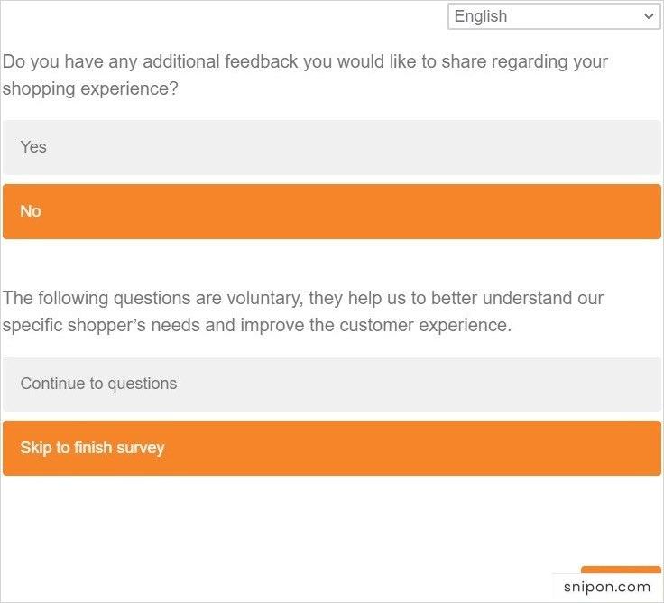 Skip to Finish Survey - ShawsSurvey