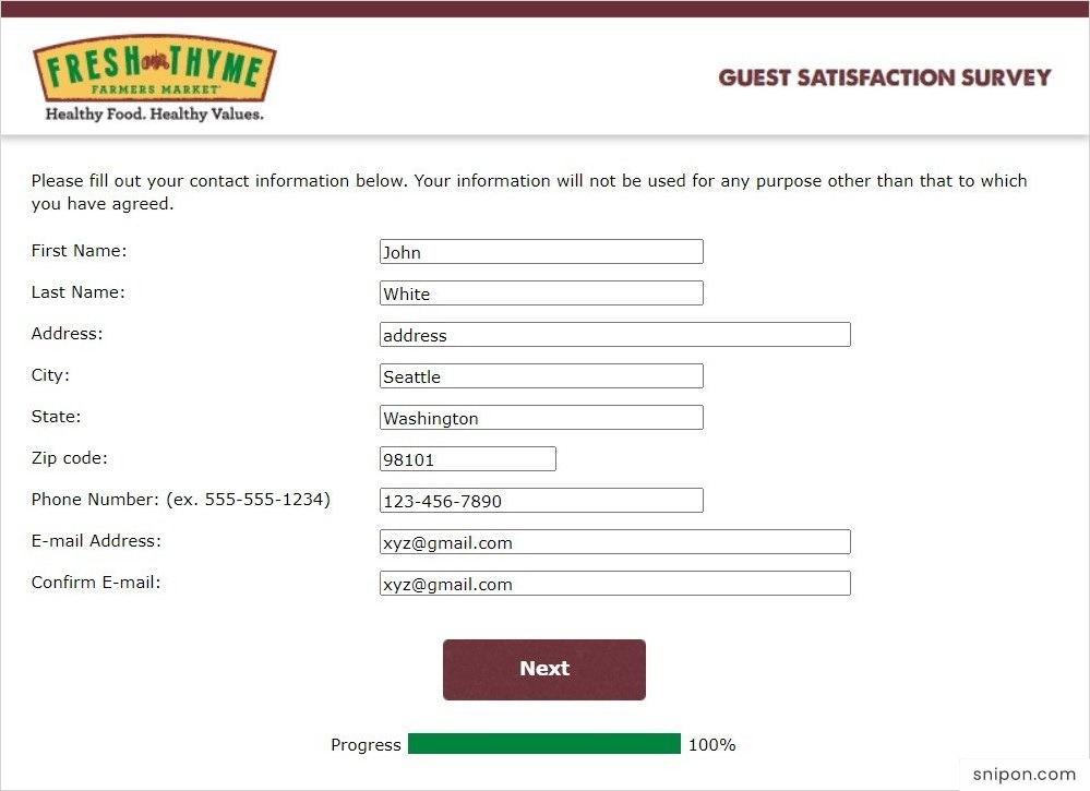 Enter Personal Information - Fresh Thyme Survey