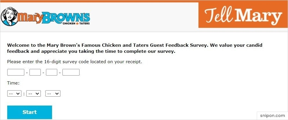 Enter 16-Digit Survey Code & Time - Mary Brown's Survey