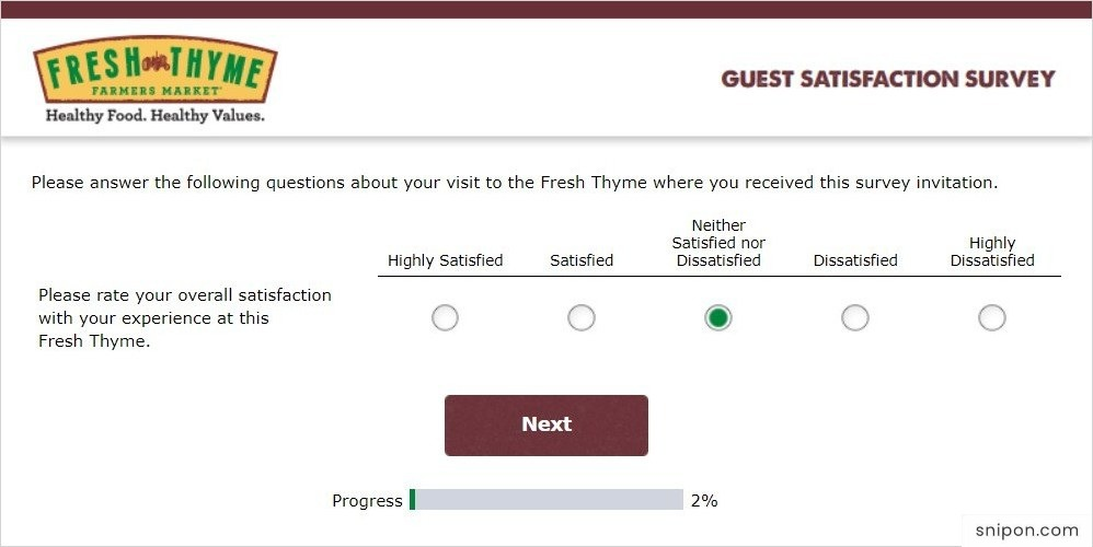 Rate Your Overall Satisfaction @ Fresh Thyme Survey