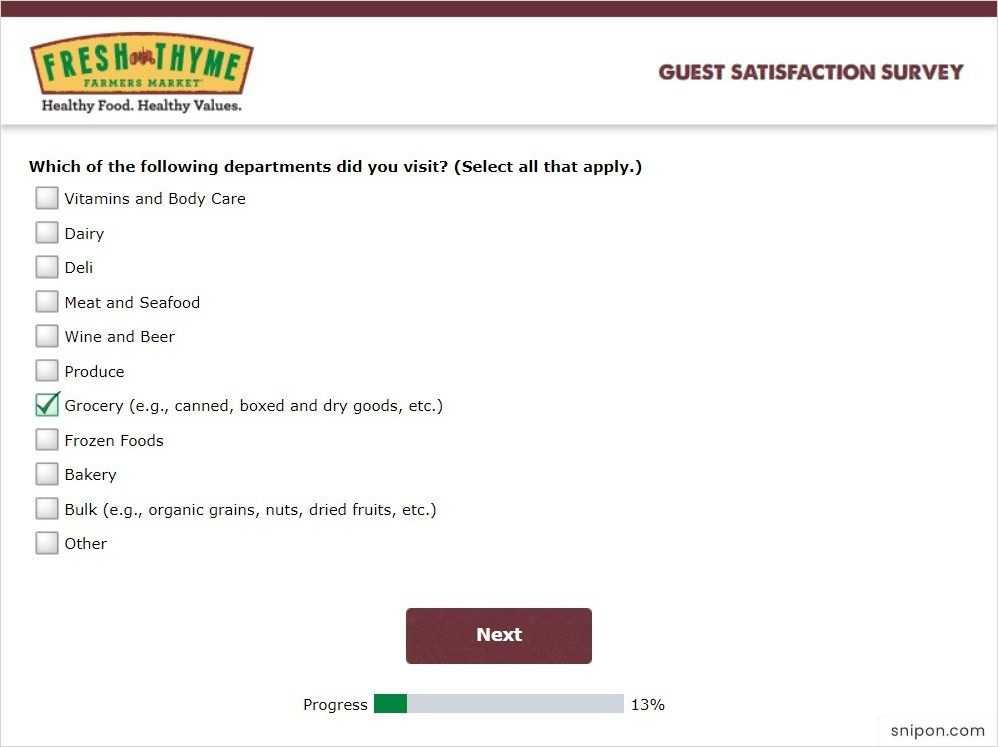 Select The Departments You Visited - Fresh Thyme Survey
