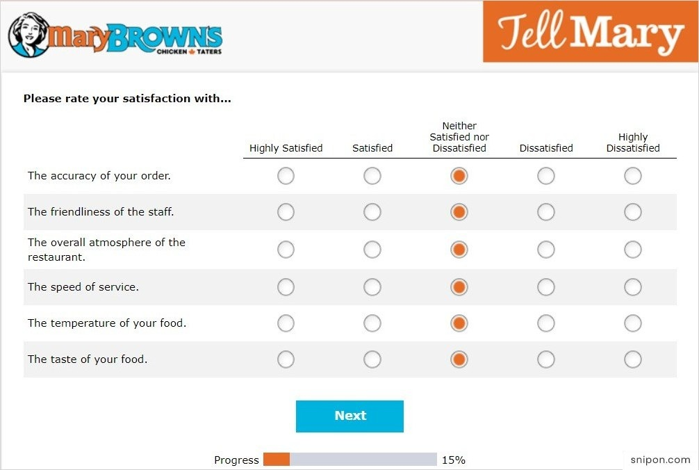 Rate Your Satisfaction With Mary Brown's Survey