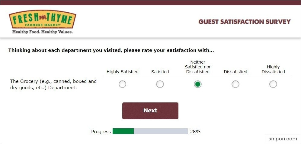 Rate Selected Departments & Your Less Satisfaction - Fresh Thyme Survey