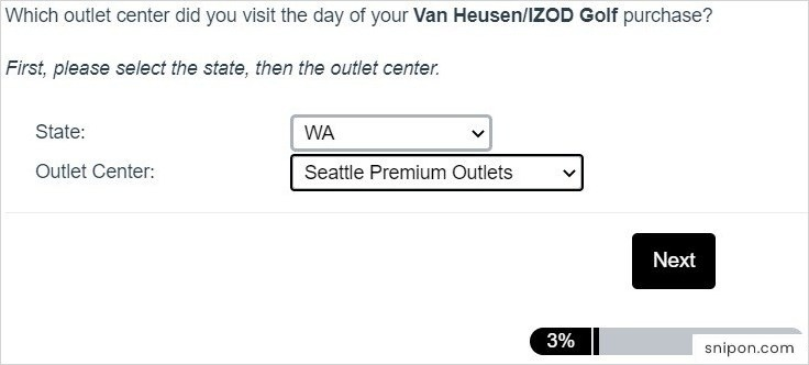 Select State, Store, Visit Reasons, Visit Frequency & More - Izod Survey