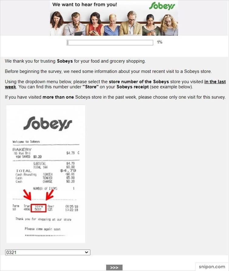 Enter Information From Sales Receipt - Sobeys Survey