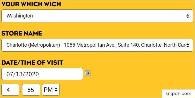 Enter Your State, Store Location & Date/Time - Which Wich Survey