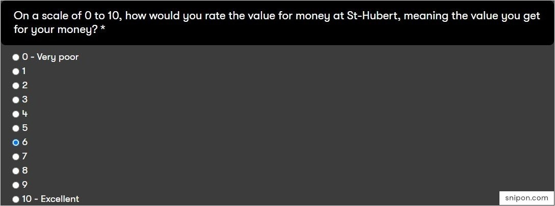 Rate Value for Money & Satisfaction With Staff - St Hubert Survey