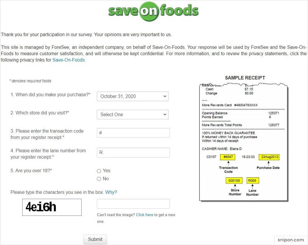 Enter Information From Your Save-On-Foods Receipt - www.SaveOnFoods.com/survey
