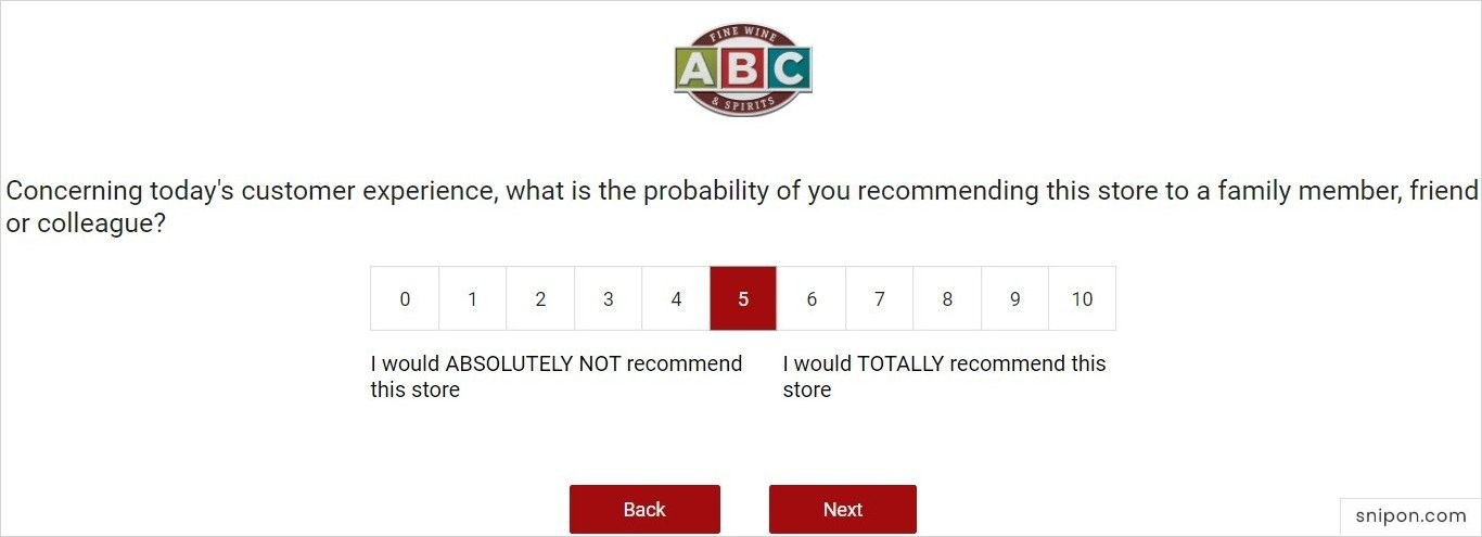 Select Probability Of You Recommending ABC To Friends & Family - ABC Customer Survey