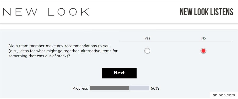 Did Any New Look Employee Recommended You Something? - New Look Survey