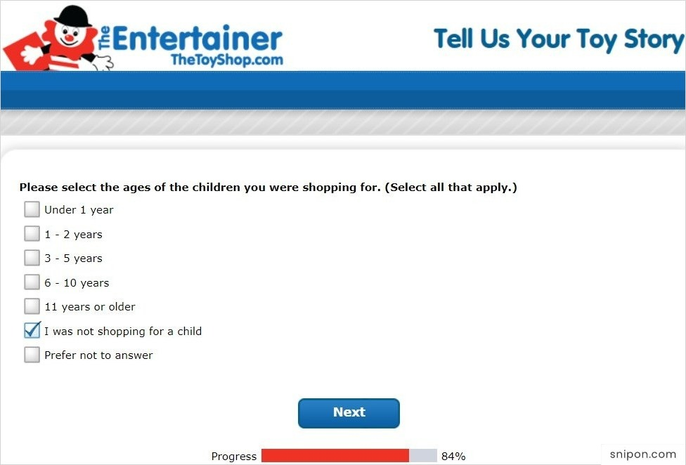 Select The Ages Of Children You Were Shopping For - Tell Us Your Toy Story