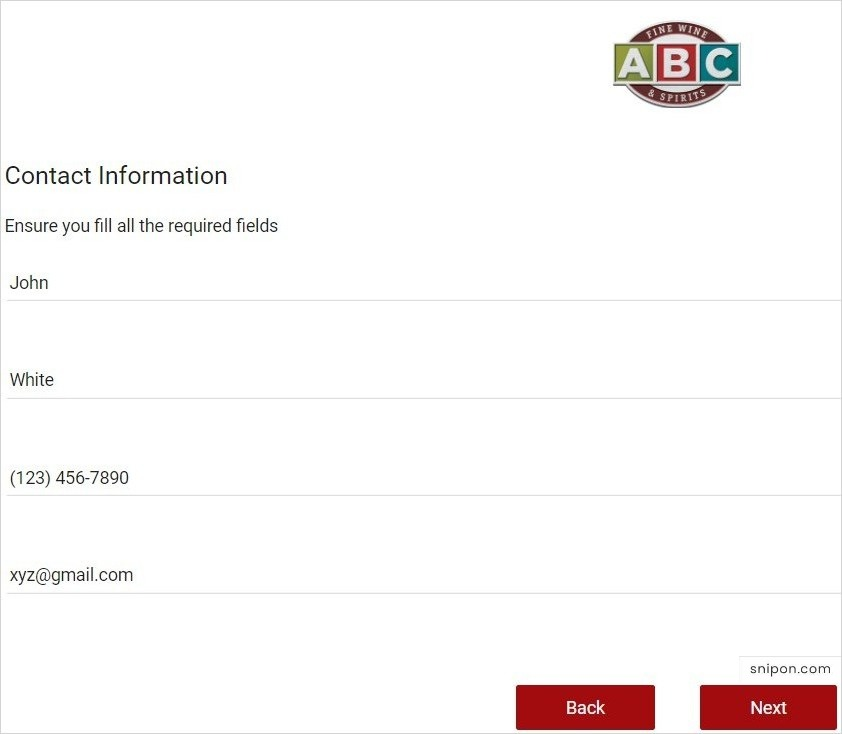 Enter Contact Information - ABC Survey