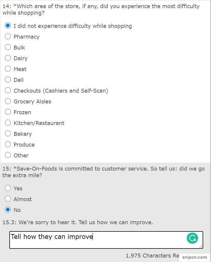 Report Difficulties & Share Opinions About Customer Service - www.saveonfoods.com