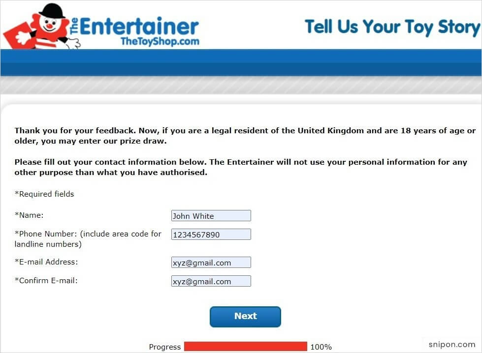 Enter Your Personal Information - Tell Us Your Toy Story