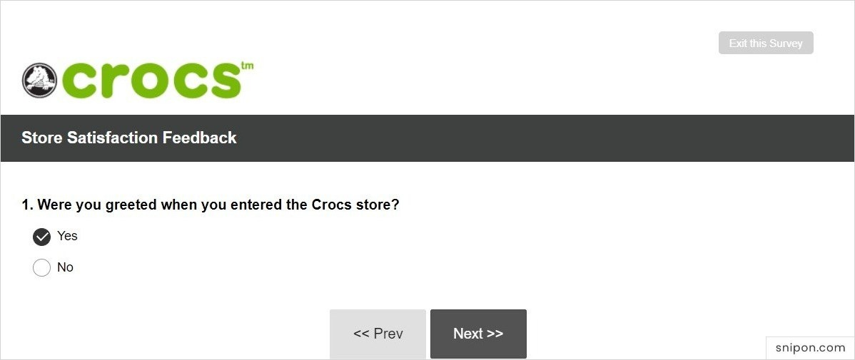 Tell If You Were Greeted By Crocs Employees - Crocs Survey