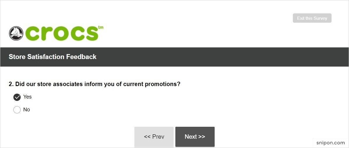 Tell If Crocs Employees Inform You Of Current Promotions - www.Crocs.com/Feedback