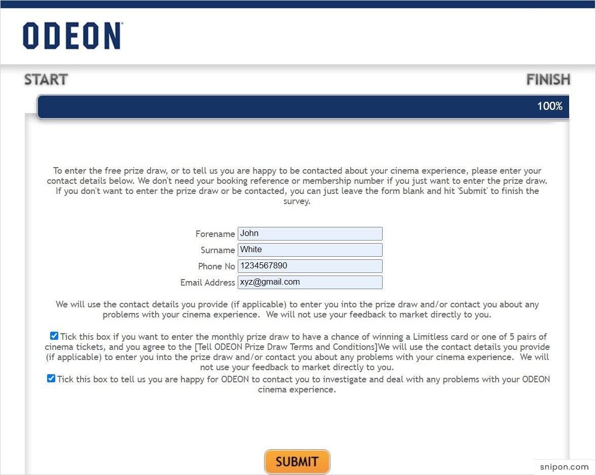 Enter Information For Sweepstakes - TellOdeon