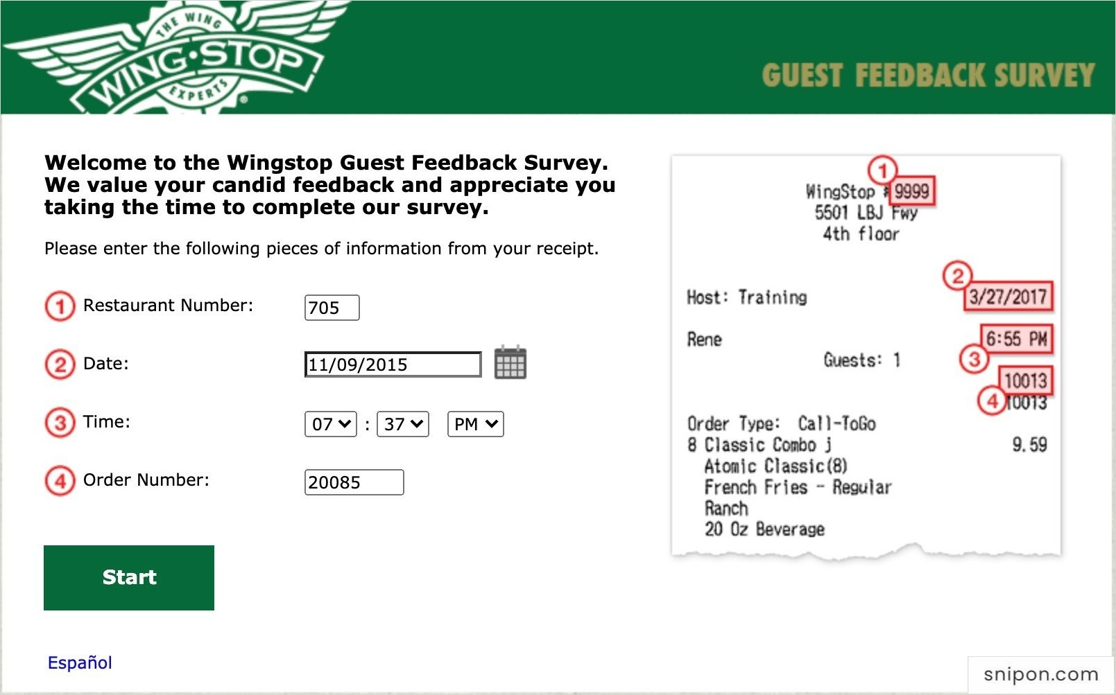 Enter Info From Your Wing Stop Receipt - MyWingStopSurvey