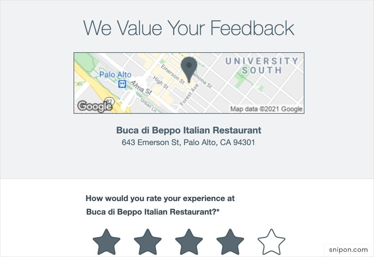 Select Stars To Rate Your Experience - www.BucaFeedback.com