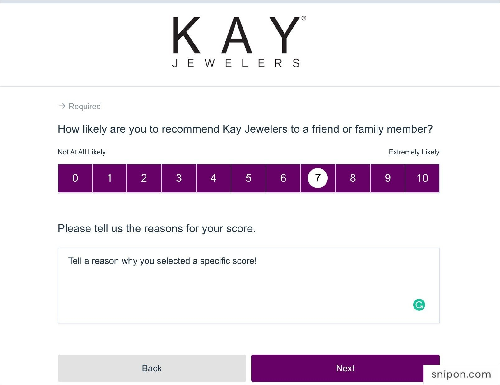 Select A Recommendation Rating - Survey.Kay.com