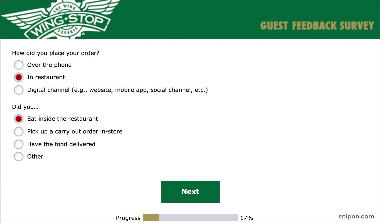Answer More Questions About Your Order - MyWingStopSurvey