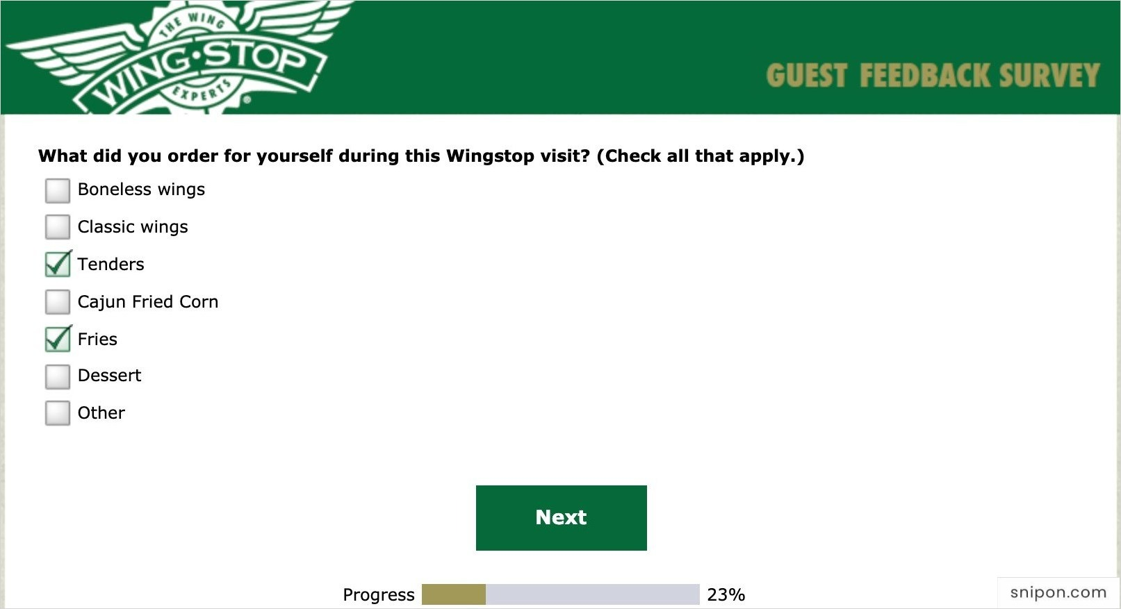Tell What You Ordered - MyWingStopSurvey