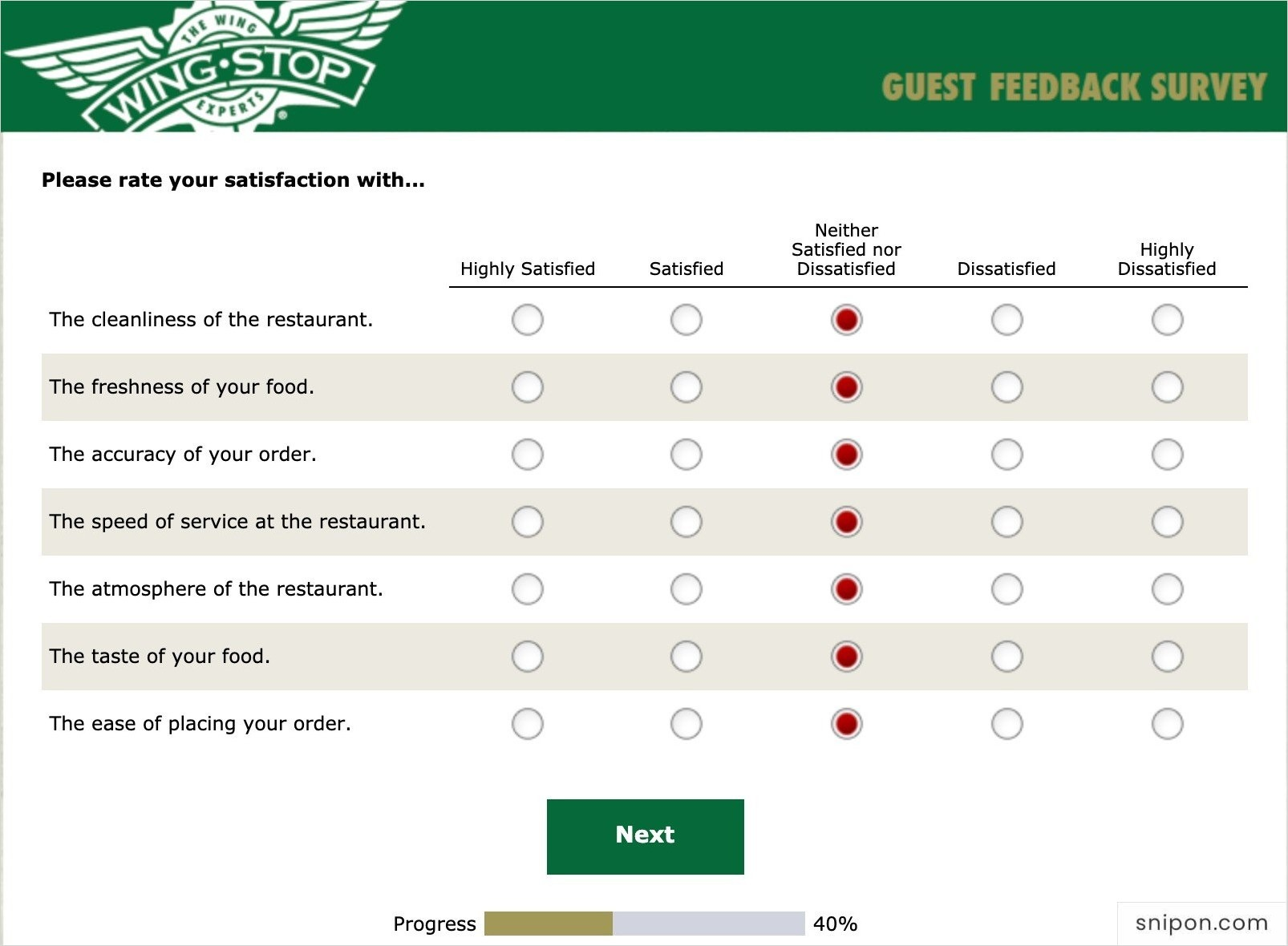 Rate Your Satisfaciton With Some Sectors - WingStop Survey