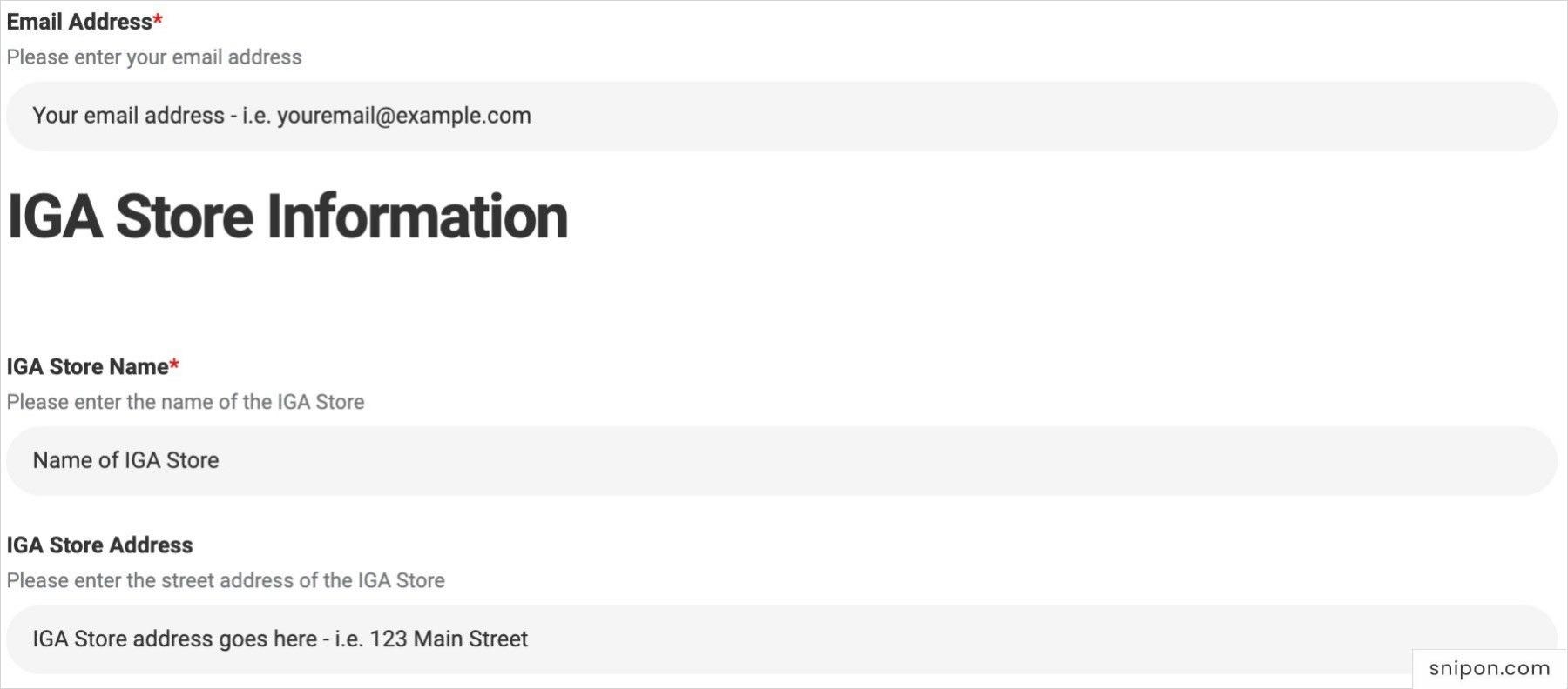 Enter Email, IGA Store Name & Address - IGA Store Feedback
