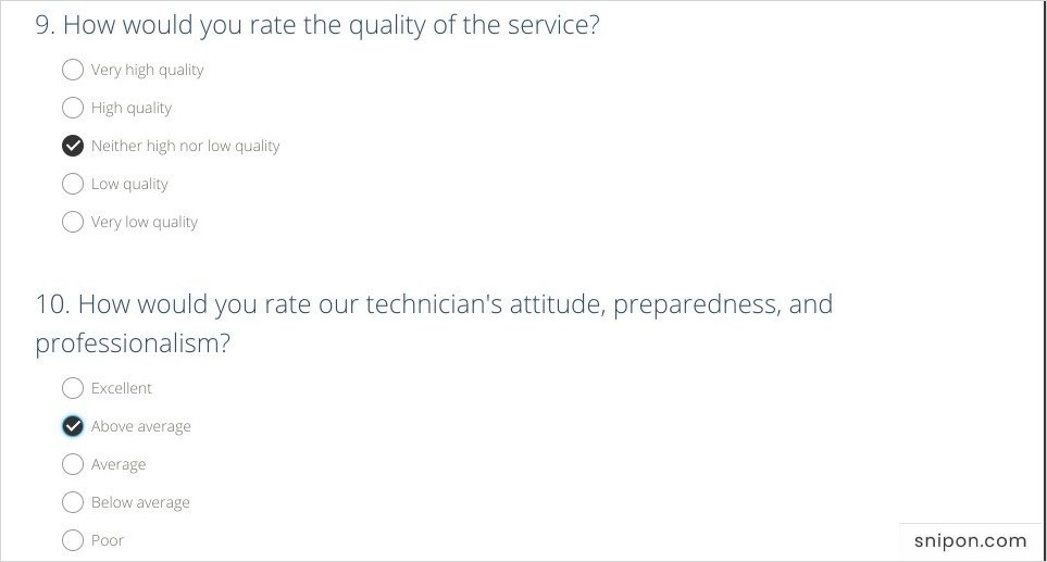 Rate Quality of Service & Technician's Characteristics