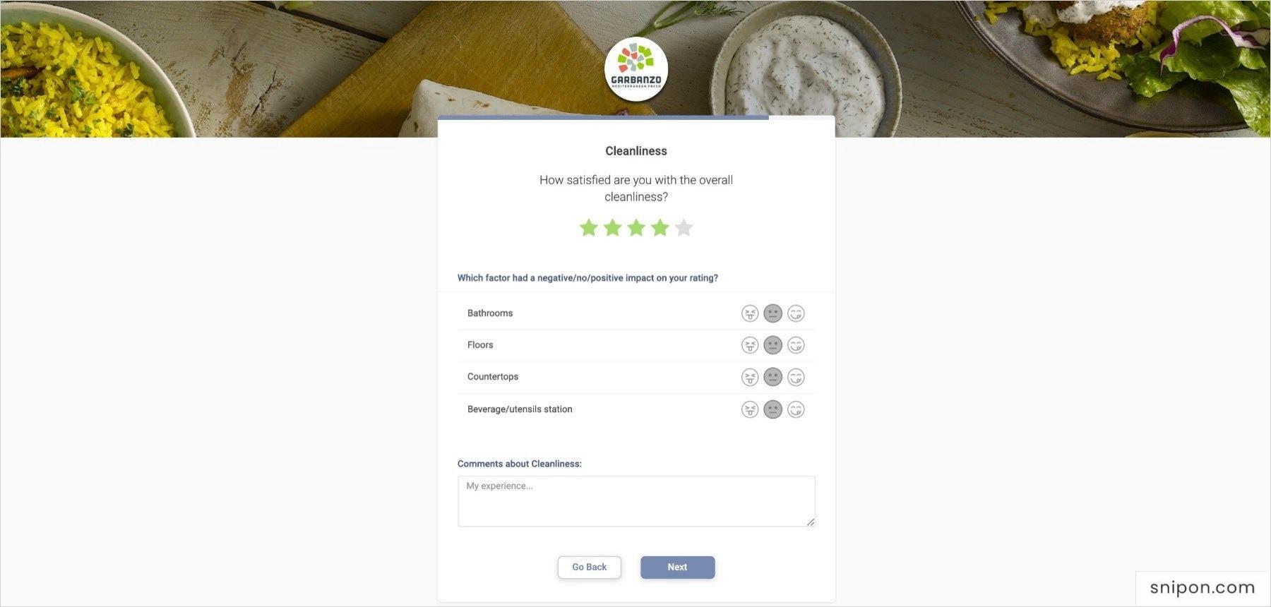 Rate Cleanliness & Sanitation - www.GarbanzoSurvey.com