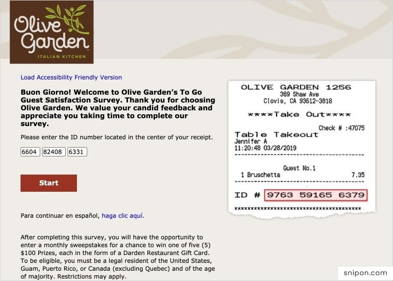 Enter Info & Select Order Type - Oliver Garden Survey