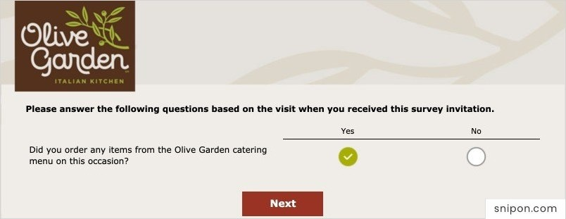 Tell About Your Order & How You Received It - Oliver Garden Survey