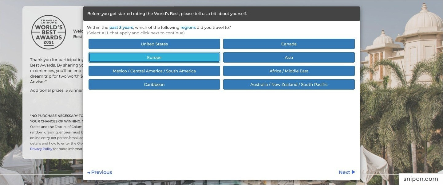 Select Regions & Countries You Have Travelled & Categories You Want To Rate