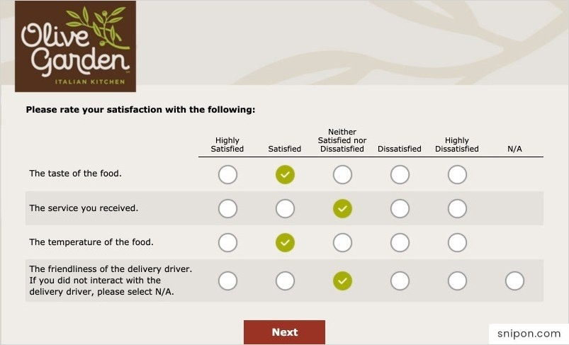 Rate Your Satifaction With Different Sectors - Oliver Garden Survey