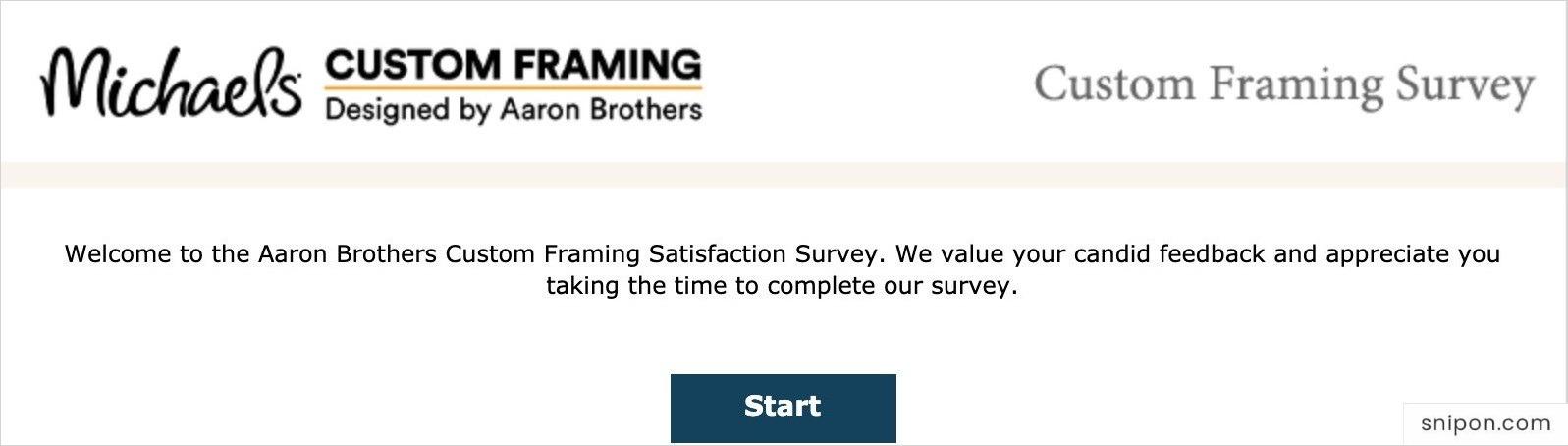 Start The Michael's Custom Framing Survey - MyMichaelsCustomFraming