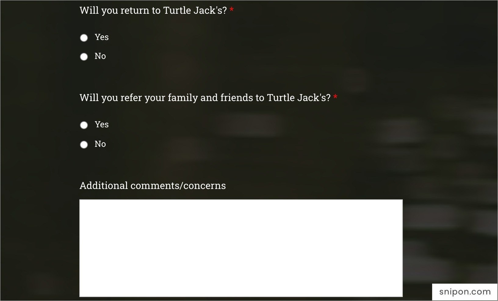 Tell Will You Return To Turtle Jack's & Will You Refer It To Your Family & Friends