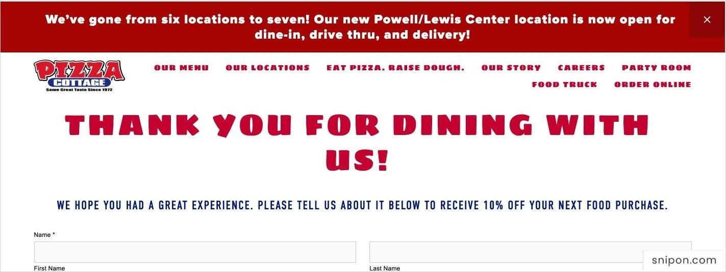 Enter Name - Pizza Cottage Survey