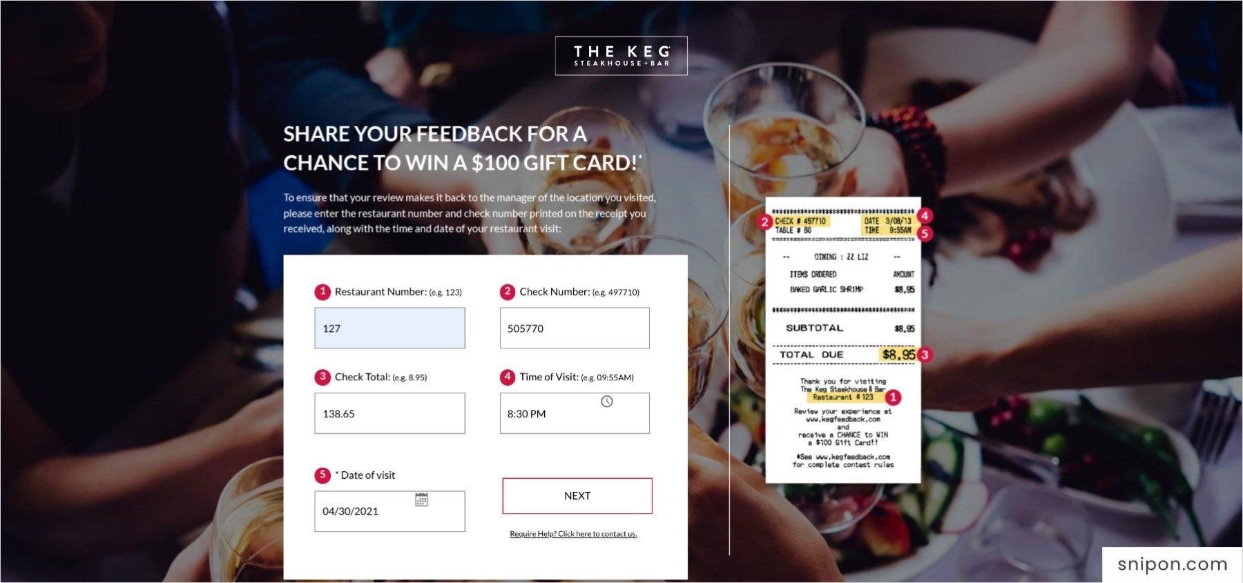 Enter Information - The Keg Feedback Survey